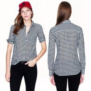 J. Crew Black Checkered Boy Button Down Shirt